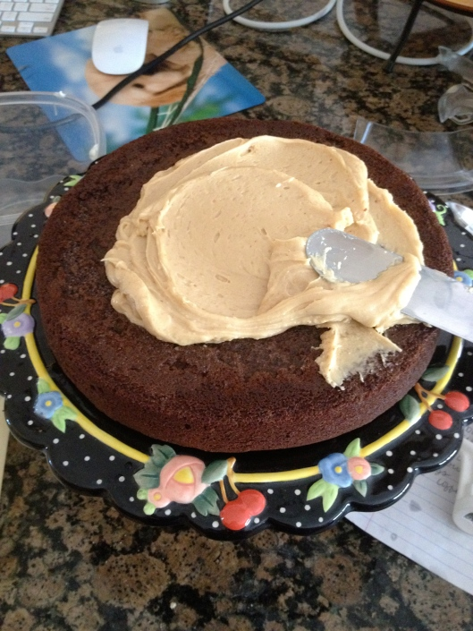 chocolate cake with peanut butter frosting filling