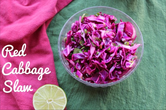 Red Cabbage Slaw for Healthy Grilled Fish Tacos | via Tsiporah Blog