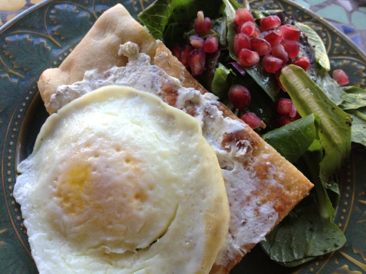 Farm Fresh Eggs, Rosemary Flatbread & Breakfast Salad Recipe via Tsiporah Blog