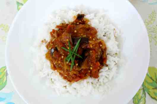 Tomato and Eggplant Stew with Garlic & Spices via Tsiporah Blog