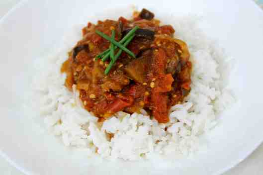 Tomato and Eggplant Stew with Middle Eastern Spices via Tsiporah Blog