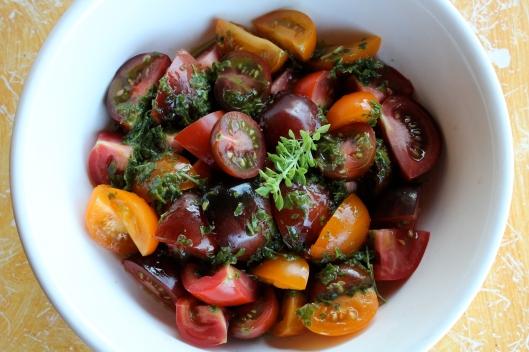 Tomato Salad + Basil Vin | via Tsiporah Blog