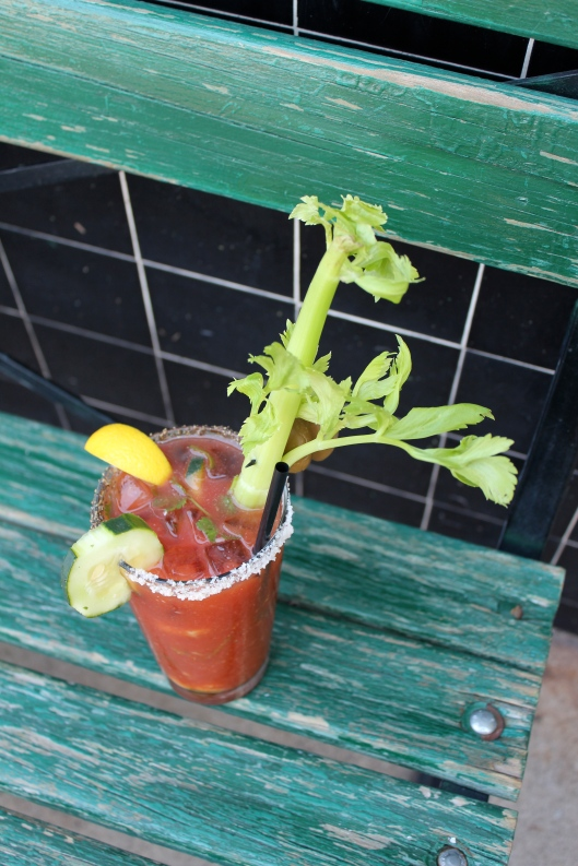 Bloody Mary with Cilantro, Cucumber, Artichokes, etc.